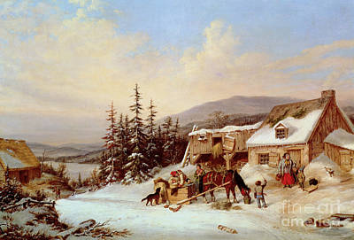 Christmas Greeting Painting - Quebec by Cornelius Krieghoff
