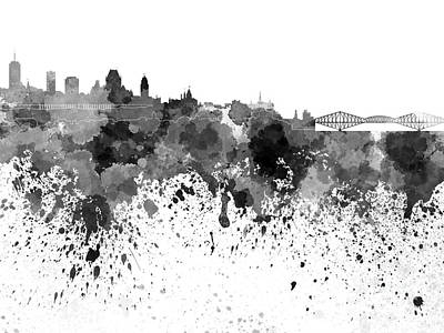 Quebec Painting - Quebec Skyline In Black Watercolor On White Background by Pablo Romero