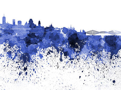 Quebec Painting - Quebec Skyline In Blue Watercolor On White Background by Pablo Romero