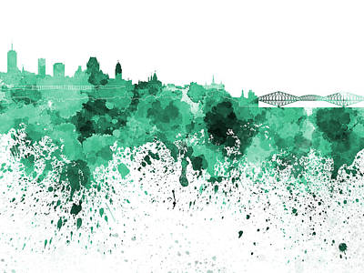 Quebec Painting - Quebec Skyline In Green Watercolor On White Background by Pablo Romero