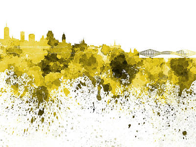 Quebec Painting - Quebec Skyline In Yellow Watercolor On White Background by Pablo Romero