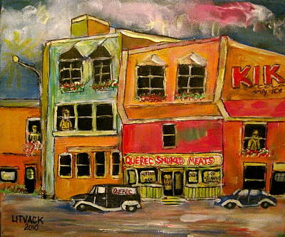 Litvack Naive Painting - Quebec  Smoked Meat King by Michael Litvack