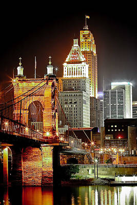 Ohio Photograph - Queen City At Night by Keith Allen