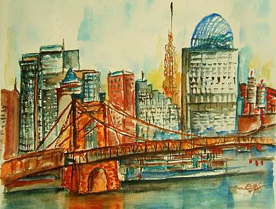 Cincy Painting - Queen City Skyline Cincinnati Oh by Elaine Duras