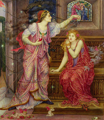 Queen Eleanor And Fair Rosamund Print by Evelyn De Morgan