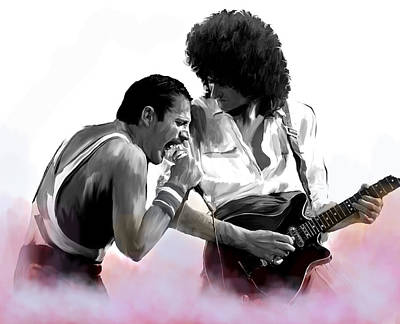 Works Drawing - Queen II  Freddie Mercury And Brian May by Iconic Images Art Gallery David Pucciarelli
