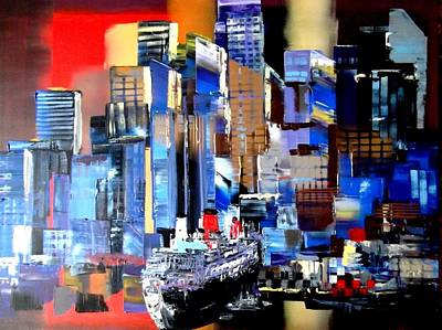 Docking Painting - Queen Mary 2 Docking At New York by Eraclis Aristidou