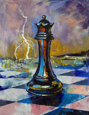Lightning Painting - Queen Of Chess by Michael Creese