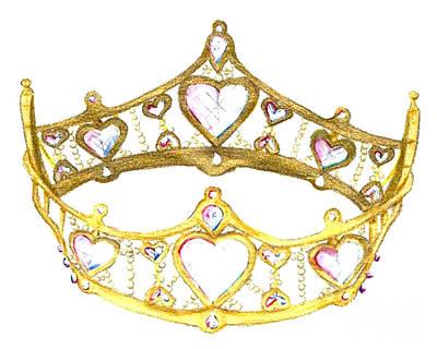 Tiara Painting - Queen Of Hearts Crown Tiara By Kristie Hubler by Kristie Hubler