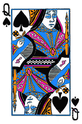 Wingsdomain Digital Art - Queen Of Spades - V3 by Wingsdomain Art and Photography