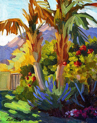 Canary Painting - Queen Palms by Diane McClary