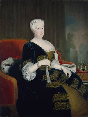 Queen Sophia Dorothea Of Hanover Oil On Canvas Print by Georg Wenceslaus von Knobelsdorff