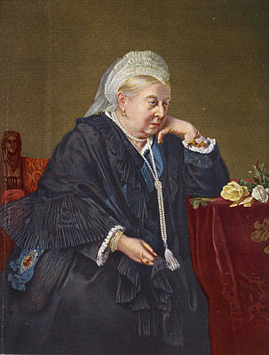 Queen Victoria 1819-1901 1899 Oil On Canvas Print by English School
