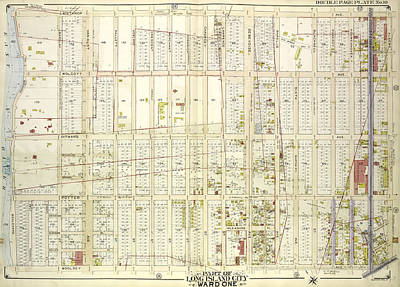 Long Island Drawing - Queens, Vol. 2, Double Page No. 10 Part Of Long Island City by Litz Collection