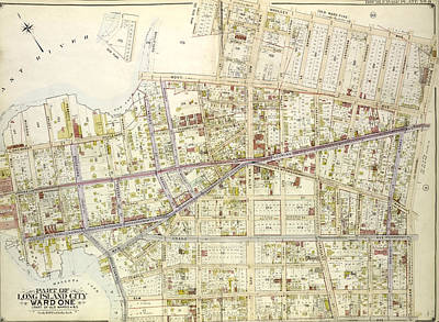 Long Island Drawing - Queens, Vol. 2, Double Page Plate No. 8 Part Of Long Island by Litz Collection