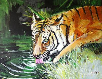 Bengal Tiger Painting - Quench by Judy Kay