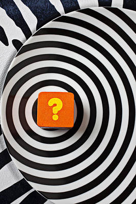 Question Photograph - Question Mark On Circle Plate by Garry Gay