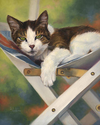 Feline Painting - Quiet Day by Lucie Bilodeau