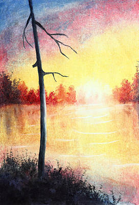 Quiet Evening By The River Print by Nirdesha Munasinghe