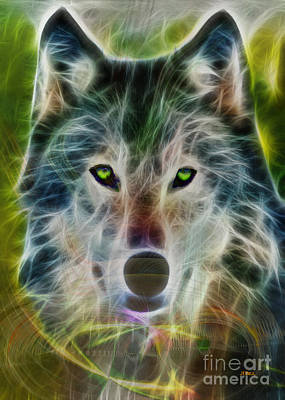 Wild Wolf Mixed Media - Quiet Majesty - Fractalized Version by John Robert Beck