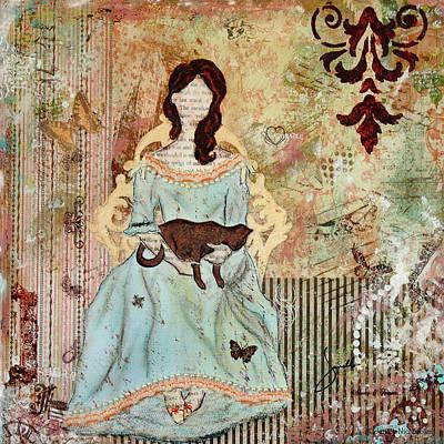 Folk Art Mixed Media - Quiet Time Victorian Folk Art by Janelle Nichol