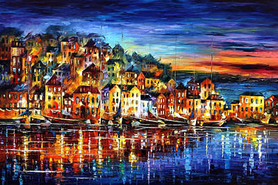 Quiet Town - Palette Knife Cityscape Oil Painting On Canvas By Leonid Afremov Original by Leonid Afremov