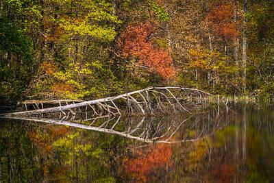 Quiet Waters In Autumn Print by Debra and Dave Vanderlaan