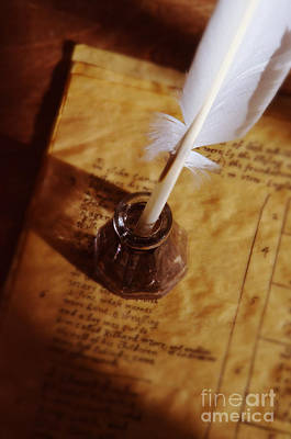 Quill In Ink Pot On Parchment Print by Jill Battaglia