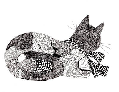 Cat Drawing - Quilt Cat With Bow by Lou Belcher