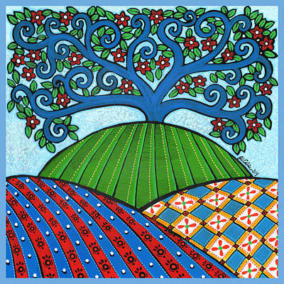Quilted Hills Blue Tree Original by Jay Winter Collins