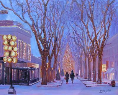 Winter In New England Painting - Quincy Market At Twilight by Laura Lee Zanghetti