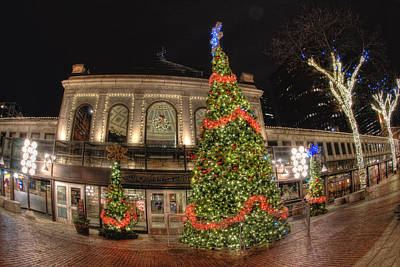 Quincy Market Holiday Lights Print by Joann Vitali