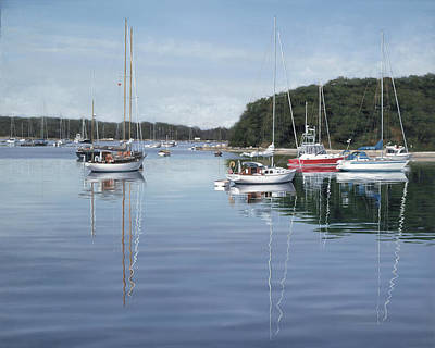Sailboats Painting - Quissett Reflections by Julia O'Malley-Keyes