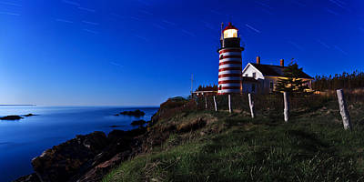 Coastal Maine Photograph - Quoddy Head By Moonlight Panorama by Bill Caldwell -        ABeautifulSky Photography