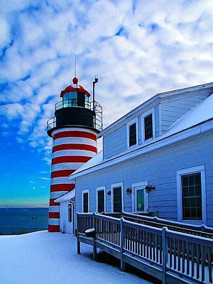 Quoddy Head Lighthouse In Winter 2 Print by Bill Caldwell -        ABeautifulSky Photography