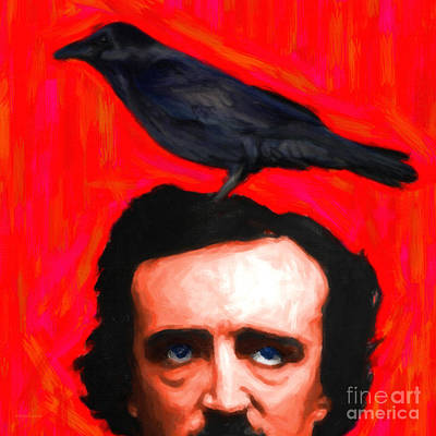 Haunted Digital Art - Quoth The Raven Nevermore - Edgar Allan Poe - Painterly - Square by Wingsdomain Art and Photography