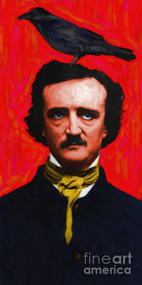 Quoth The Raven Nevermore - Edgar Allan Poe - Painterly Print by Wingsdomain Art and Photography