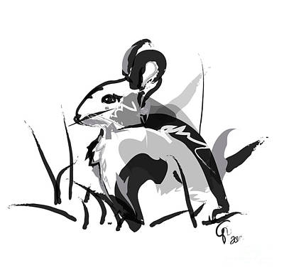 Rabbit Painting - Rabbit Bunny Black White Grey by Go Van Kampen
