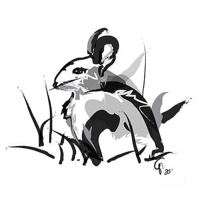 Rabbit Digital Art - Rabbit Bunny Black White Grey by Go Van Kampen