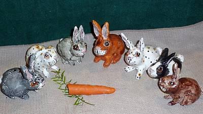 Customclaycritters Sculpture - Rabbit Sculpture Lucky Rabbits 4 Intact Rabbit Feet by Debbie Limoli