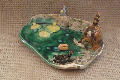 Customcrittersbydeb Sculpture - Raccoon Blue Bird Turtle Fish Tray  by Debbie Limoli