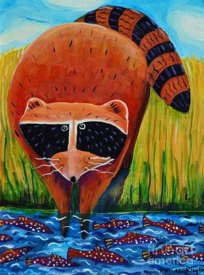 Raccoon Painting - Raccoon Fishing by Harriet Peck Taylor