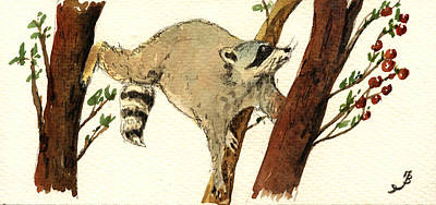 Raccoon On Tree Print by Juan  Bosco