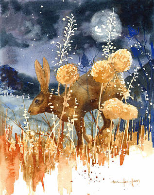 Wildlife Landscape Painting - Race Against The Moon by Alison Fennell