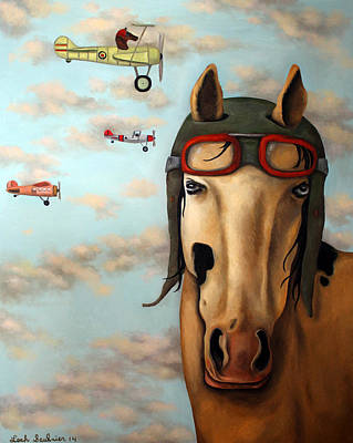 Goggles Painting - Race Horse Edit 2 by Leah Saulnier The Painting Maniac