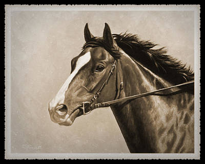 Running Painting - Race Horse Old Photo Fx by Crista Forest