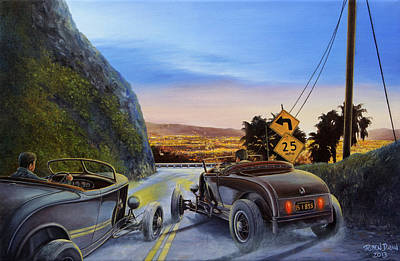 Hot Rod Painting - Race To Dead Man's Curve by Ruben Duran