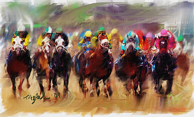 Race To The Finish Line Print by Ted Azriel