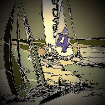Watersports Drawing - Races 4 by Andrew Drozdowicz