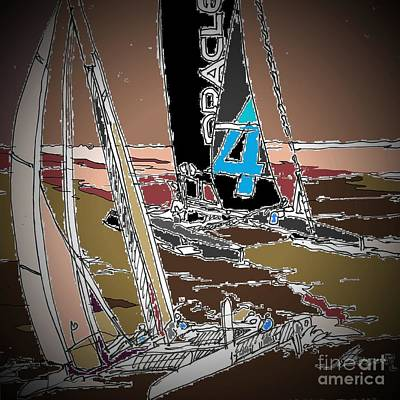 Watersports Drawing - Races 5 by Andrew Drozdowicz